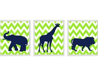 Nursery Art Prints  - Elephant Giraffe Lion Safari Zoo - Lime Green Navy Blue Chevron - Modern Kids Baby Boy Room Home Decor