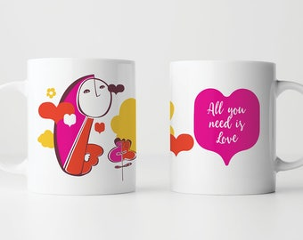 All You Need is Love | Coffee Mug | Tea Mug | Perfect Gift | Love | Friendship Mug | Ceramic Cup