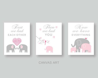 PINK and Gray CANVAS Art, Elephant Nursery Decor, Baby Girl Decor, Kids Wall Art, Baby Gift, First we had each other set of 3 by YassisPlace