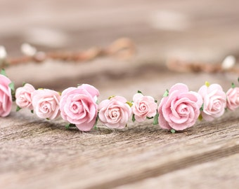 Wedding Flower Crown Pink, Floral Crown, Blush Flower Crown, Girls Flower Crown, Floral Hair Wreath, Pink Wedding Crown, Bridal Crown Rose