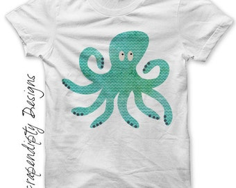 Octopus Iron on Transfer - Iron on Ocean Shirt PDF / Mens Octopus Shirt / Ocean Birthday Party / Boys Blue Tshirt Design / Printable IT341