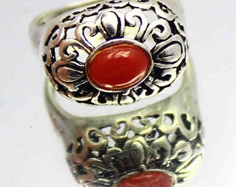 18.75Ct Certified US Size-6 Red Coral Fabulous Ring Gems 925 Sterling Silver ET68