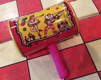 Vintage Colorful Litho Tin Party Noisemaker, Metal Toy, Party Favor, Cinco de Mayo, Mardi Gras