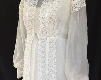 Vintage 1970's Ivory Organza Bridal Gown