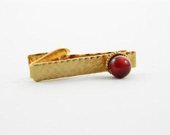Burgundy Moonstone Tie Clip