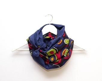 Blue Scarf, Ribbon Cuff scarf,  Cotton Scarf, Blue infinity Scarf, Colorful circle Scarf, Blue loop scarf, Blue Cotton Scarf