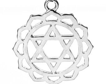 2 Silver Tone Chakra Healing Pendant - Anahata (Heart Chakra) 3.1cm