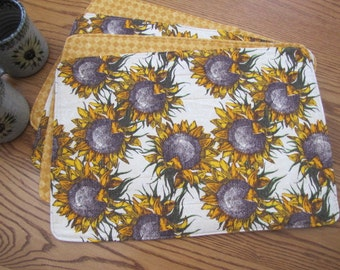 Reversible Sunflower placemats - Set of 4