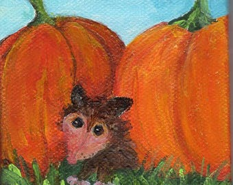 Possum, pumpkins mini canvas art, Easel, 3 x 3 small opossum animal art, possum painting, original painting, little possum painting