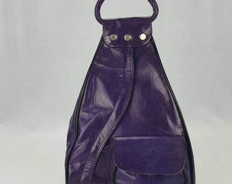 Handcrafted Leather Backpack Purple Medium Guitare