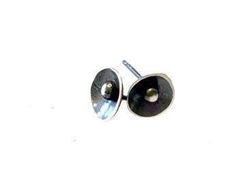 Petite Silver Studs Post Earrings Organic Dish Ball Oxidized Patina Dainty