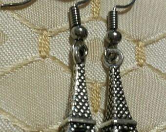 Eiffel Tower Earrings Paris France Tibetan Silver Dangle Earrings