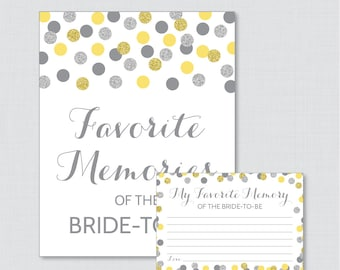 Favorite Memories of the Bride To Be Activity - Printable Yellow and Gray Glitter Shower Game - Bridal Shower Memory Activity - 0001-Y