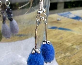 Blue needle felt and silver plate drop earrings