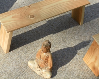 bench for meditaton from recycled wood
