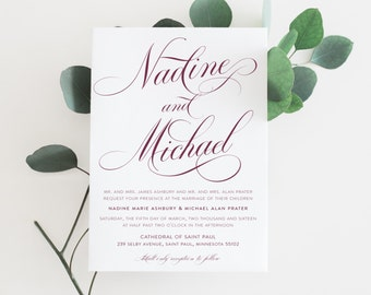 Printable Wedding Invitation Suite |The Nadine Collection in Marsala & White or Custom Colors | Timeless | DIY | PDF or Printed Invites