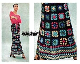 Vintage Maxi Skirt Pattern, Crochet Pattern,PDF, Boho Skirt, Hippie Skirt, No.016