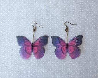 Je vais Fly Away - fait à la main en soie Organza violet rose boucles d'oreilles papillon - unique en son genre
