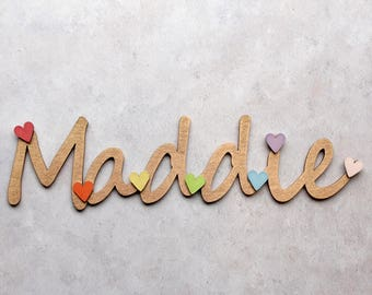 Personalised Children's Gift - Children's Name Sign with Hearts - Door Sign - Baby Gift - Baby Shower - Kids Decor - Wooden Name Sign