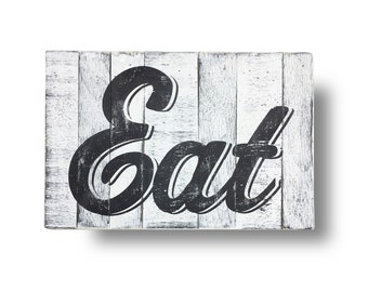 Eat sign -12 x 19 inches- printed on cool rustic boards- Fresh Produce sign Fresh provisions, Grocery Sign, Kitchen sign, Farmhouse sign