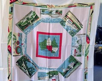 """Vintage 1950s Tablecloth~48"""" x 50""""~Souvenir~Australia~Colorful~EUC!"""