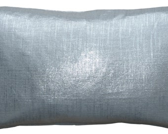 Tuscany Linen Silver Metallic Throw Pillow