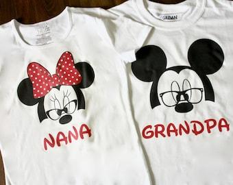 Personalized Grandparent Pregnancy Announcement Disney Shirts