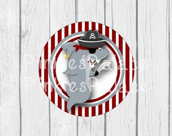 Pirate Shark Stickers Envelope Seals Favor Sticker Birthday Party Sticker - SES382