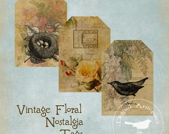 Vintage Floral Nostalgia Tags Digital Download