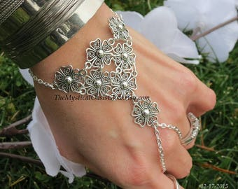 Hand Jewelry Slave bracelet, ring bracelet, silver hand chain, flower hand bracelet, chain ring bracelet, Sized chain link bracelet w ring