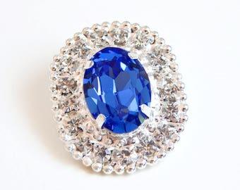 Sapphire blue crystal brooch - sapphire blue brooch - blue crystal brooch - Swarovski crystal - crystal brooch - something blue