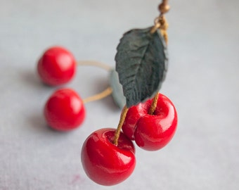 Cherry earrings Fruit earrings Earrings cherry Round cherry earrings Handmade Summer Earrings Cherry from polymer clay fruit jewelry Cherry