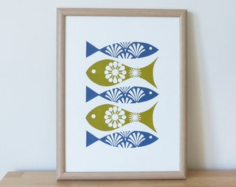 Fish Print, Retro Fish Print, Fish Decor, Fish Screen Print, Vintage Fish Decor, Fran Wood Design