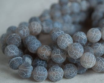 "High Quality Grade A Crackle Grey Agate - MATTE - Semi-precious Gemstone Round Beads - 4mm, 6mm, 8mm, 10mm sizes - Approx 16"" strand"