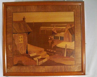 Fishing Village Harbour Sea Cornwall French Scene Wall Art Home Decor Italian Inlaid Wood Picture Marquetry Inlay Vintage Mid Century
