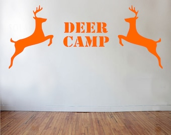 Deer Camp Wall Decal - deer decor, hunting decal, cabin decor, hunting decor, deer decal, hunting, cabin wall decals, deer camp decor
