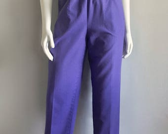 Vintage Women's 80's Purple Pants, High Waisted, Tapered Leg by Koret (S/M)