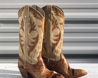 6 A | Women's Dan Post Cowboy Boots Tan Eel Skin w/ Inlay Fancy Western Boots