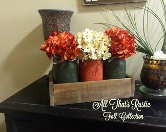 Crispy Fall Centerpiece, Mason Jar Decor, Fall Decor, Fall Centerpiece, Painted Mason Jars, Fall Mason Jars, Thanksgiving Decor,Rustic Decor