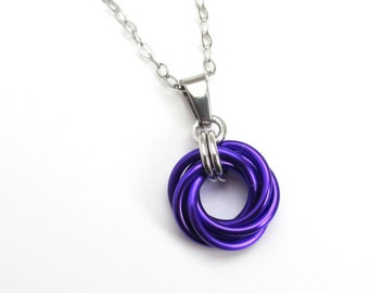 Purple pendant, chainmail love knot, small circle necklace, purple jewelry