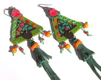 Ethnic bohemian earrings, textile earrings, long earrings pompon, green earrings, hype earrings