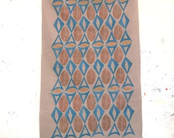 Block Printed Linen Fabric Wall Hanging Decor - Bronze/Blue - Free Shipping