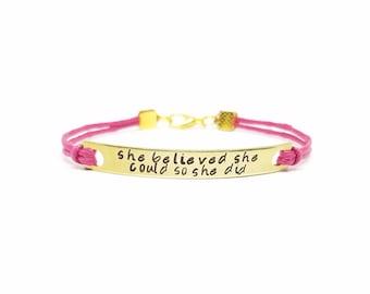 Inspirational Gold Bar Bracelet    She Believed She Could So She Did Bracelet   Personalized Bracelet   Custom Mantra   Graduation Gift