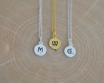 Dainty GOLD Initial Necklace in Sterling Silver, Initial Charm, Personalized Initial Necklace, Monogram Necklace Jamberjewels
