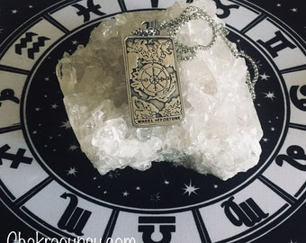 """Tarot Card """"Wheel of Fortune"""" necklace"""