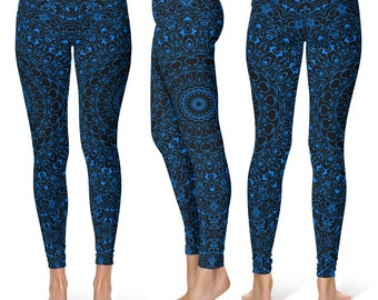 Azure Yoga Pants, Black Leggings with Blue Mandala Designs for Women, Printed Leggings, Pattern Yoga Tights