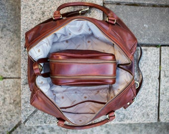 Leather duffel bag, On sale, Overnight bag, Weekender bag, Travel bag, Gym bag, Leather duffle bag - To the Lighthouse