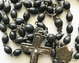 Vintage Black Rosary french