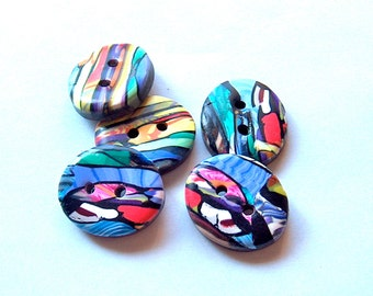Oval Buttons Stroppel Cane Blue, Purple, Yellow, Green, and White No. 176
