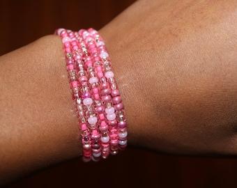 Pink Elastic Beaded Bracelets